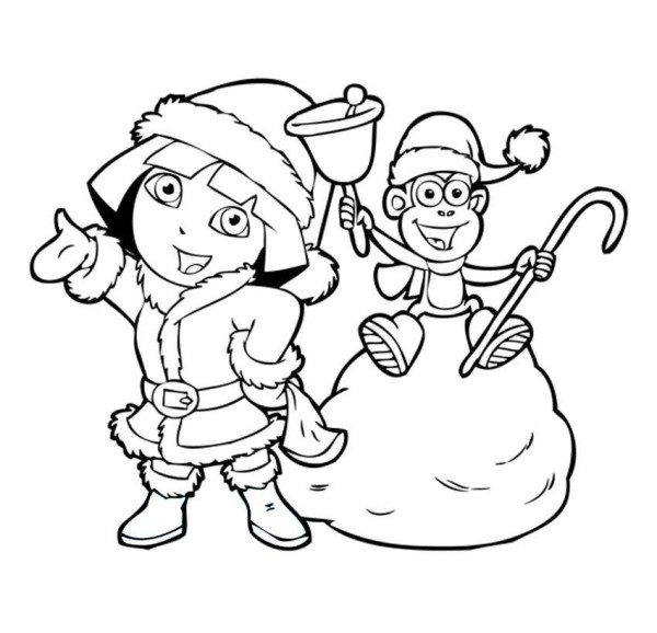 600x578 Dora Christmas Coloring Pages