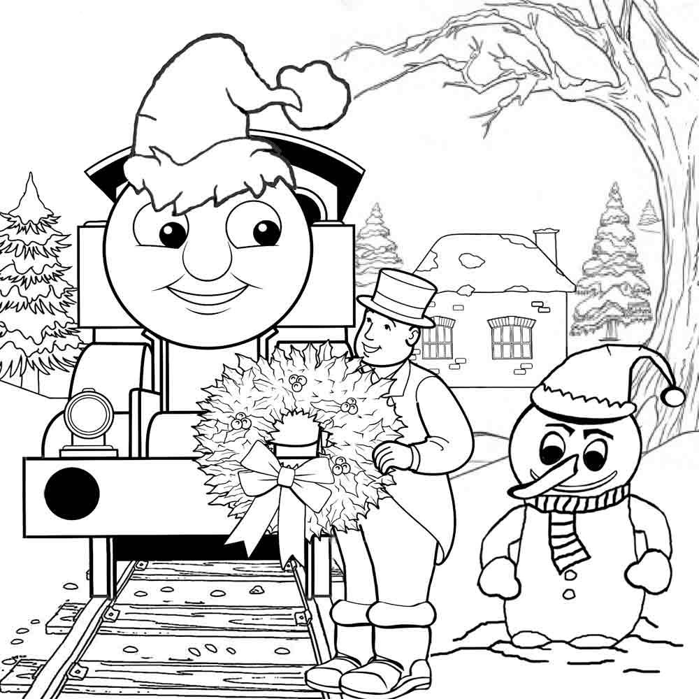 1000x1000 Thomas The Train Christmas Coloring Pages