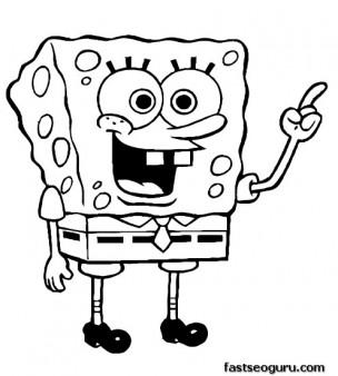304x338 Printable Cartoon Happy Spongebob Coloring Pages