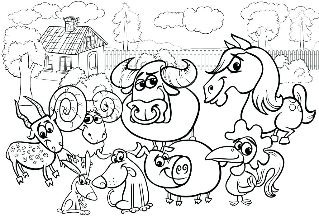 1024x714 Farm Coloring Page Farm Animals Cartoon Coloring Page Stock Vector