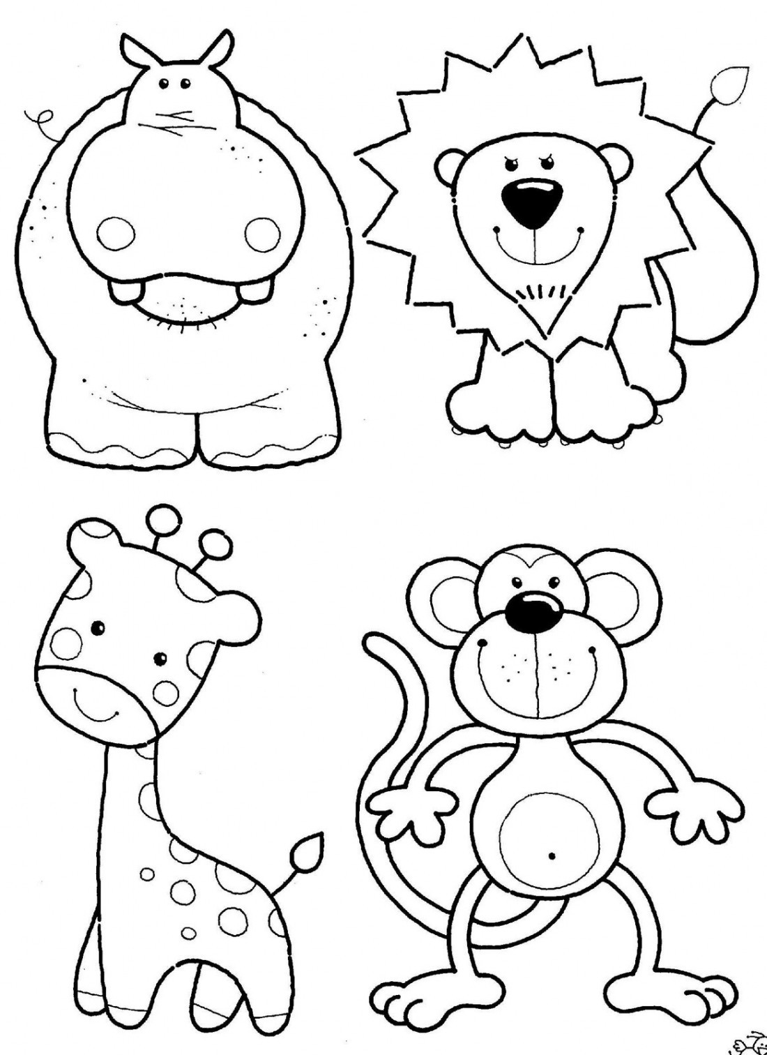 1100x1512 Jungle Animal Coloring Pages