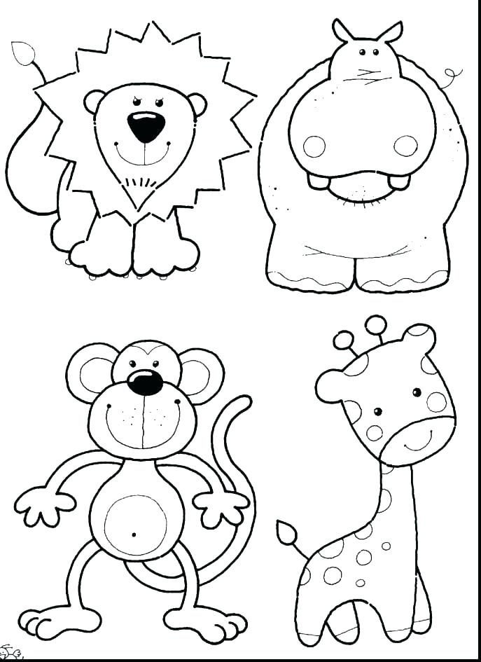 687x945 Baby Jungle Animals Coloring Pages Cartoon Animal Coloring Pages