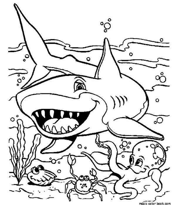 600x699 Astounding Shark Coloring Pages Printable Realistic Games Adult