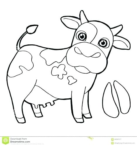 468x500 Cow Pictures To Color Also Drawn Cow Coloring Page Pencil