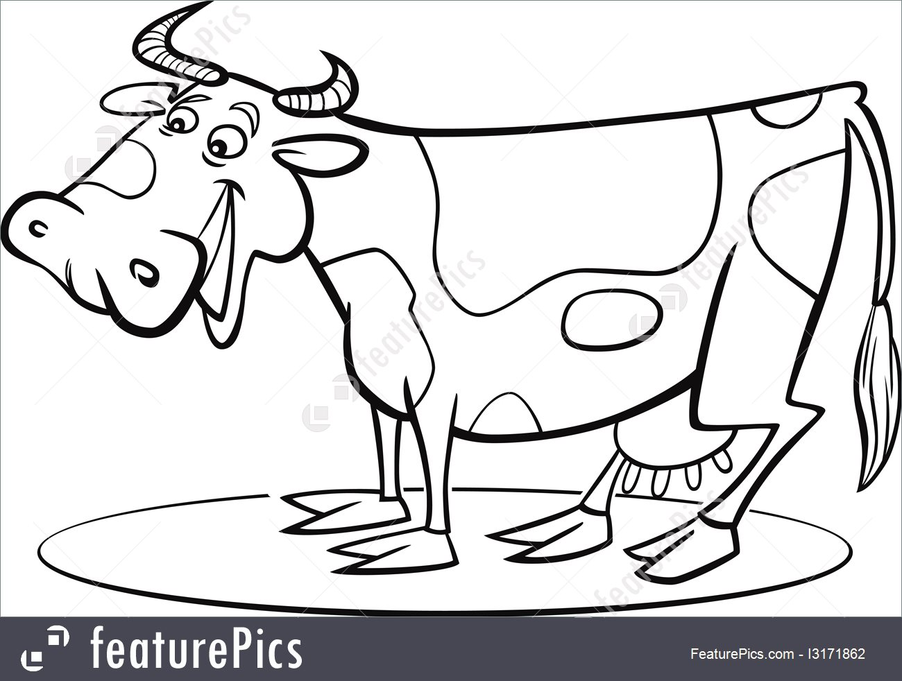1300x982 Cartoon Cow Coloring Page Illustration