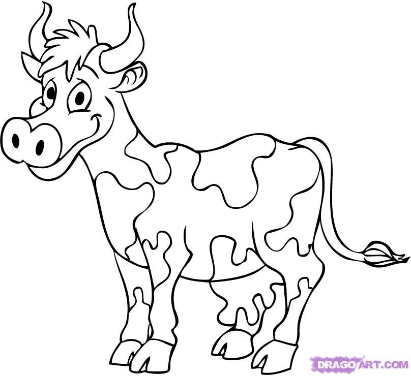 808x740 How To Draw A Cartoon Cow Step Art Projects For Kids