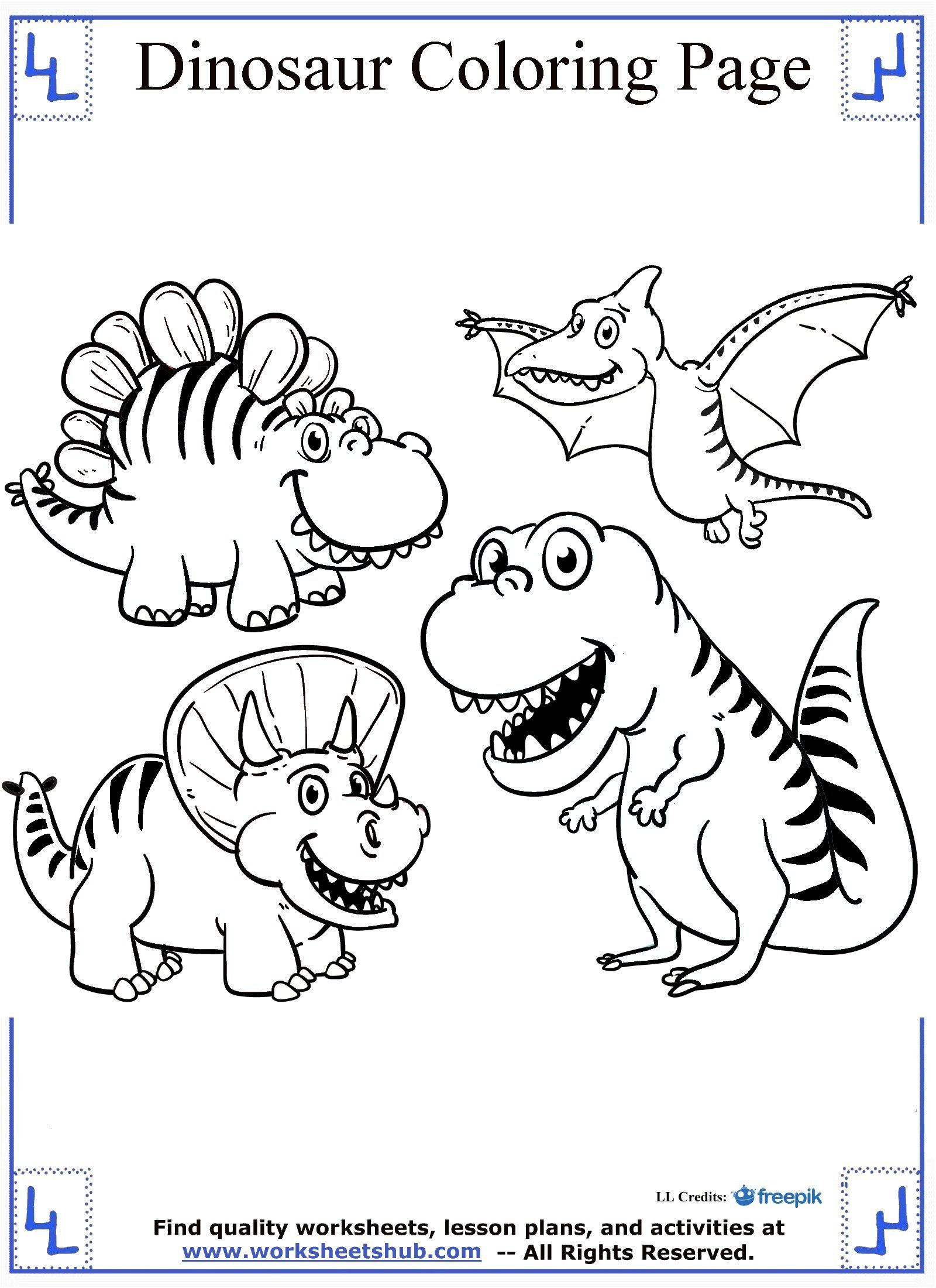 1600x2200 Cartoon Dinosaurs Coloring Page Dinosaur Coloring Pages