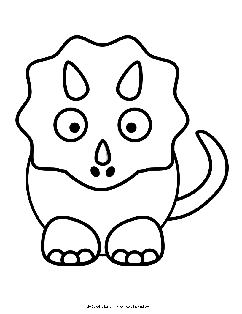 816x1056 Cute Dinosaur Triceratops Coloring Pages For Kids