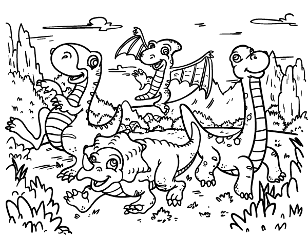 600x464 Free Cartoon Dinosaur Coloring Page Download It