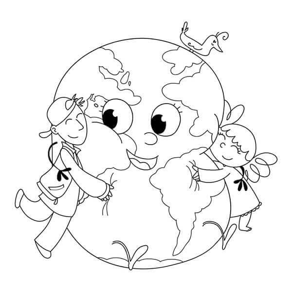 Cartoon Earth Coloring Pages
