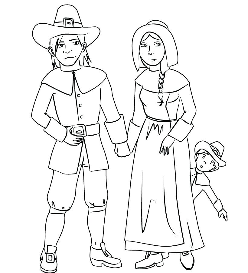 820x900 Pilgrim And Indian Coloring Pages And Pilgrim Native Coloring Page