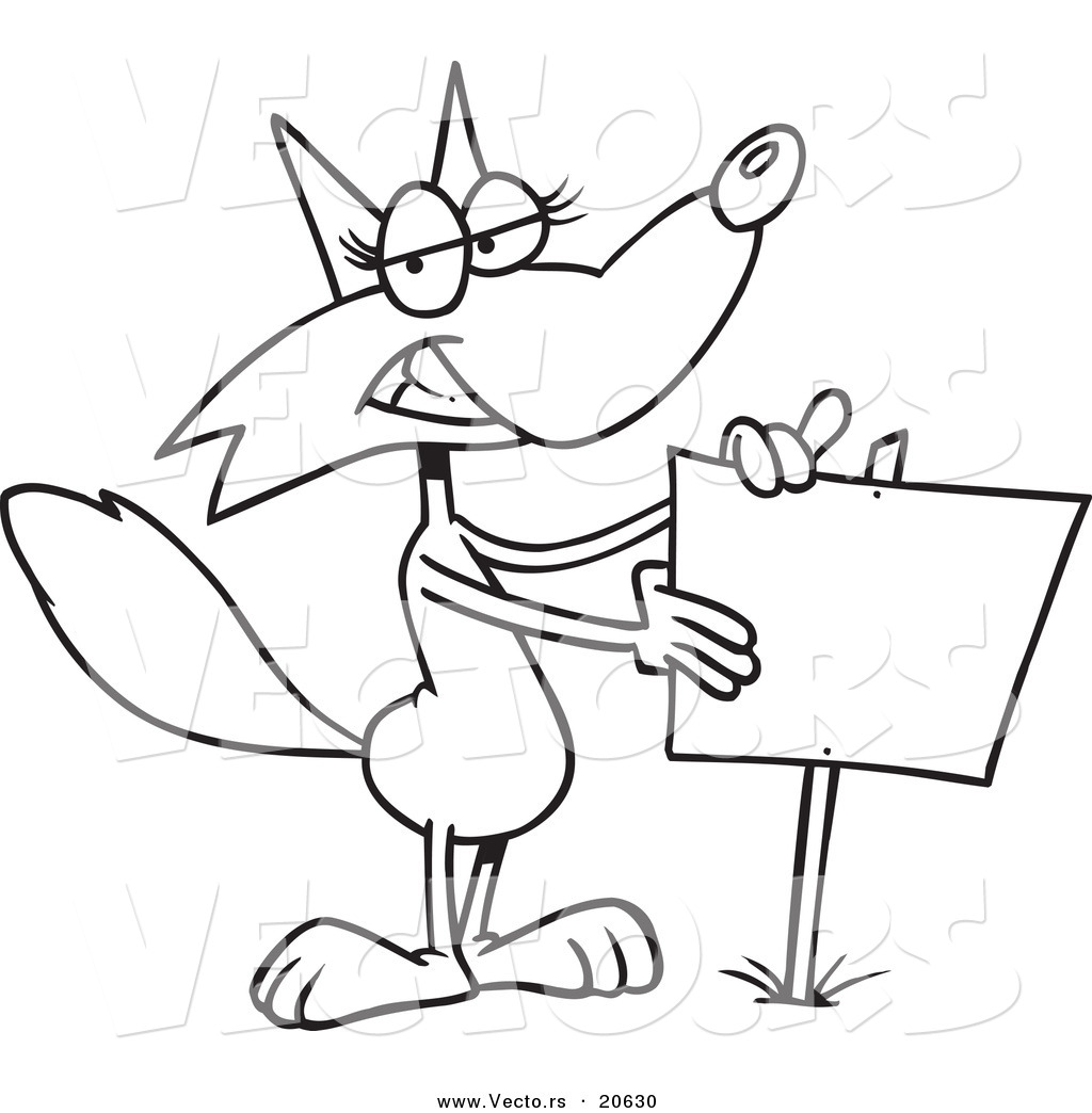 1024x1044 Vector Of A Cartoon Fox Presenting A Blank Sign