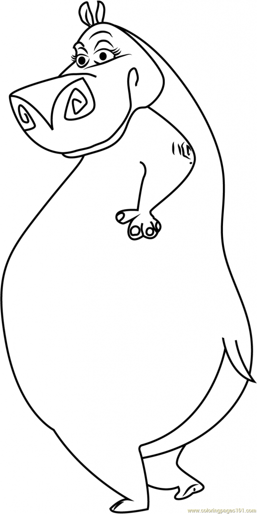 Cartoon Hippo Coloring Pages At Getdrawings Com Free For Personal