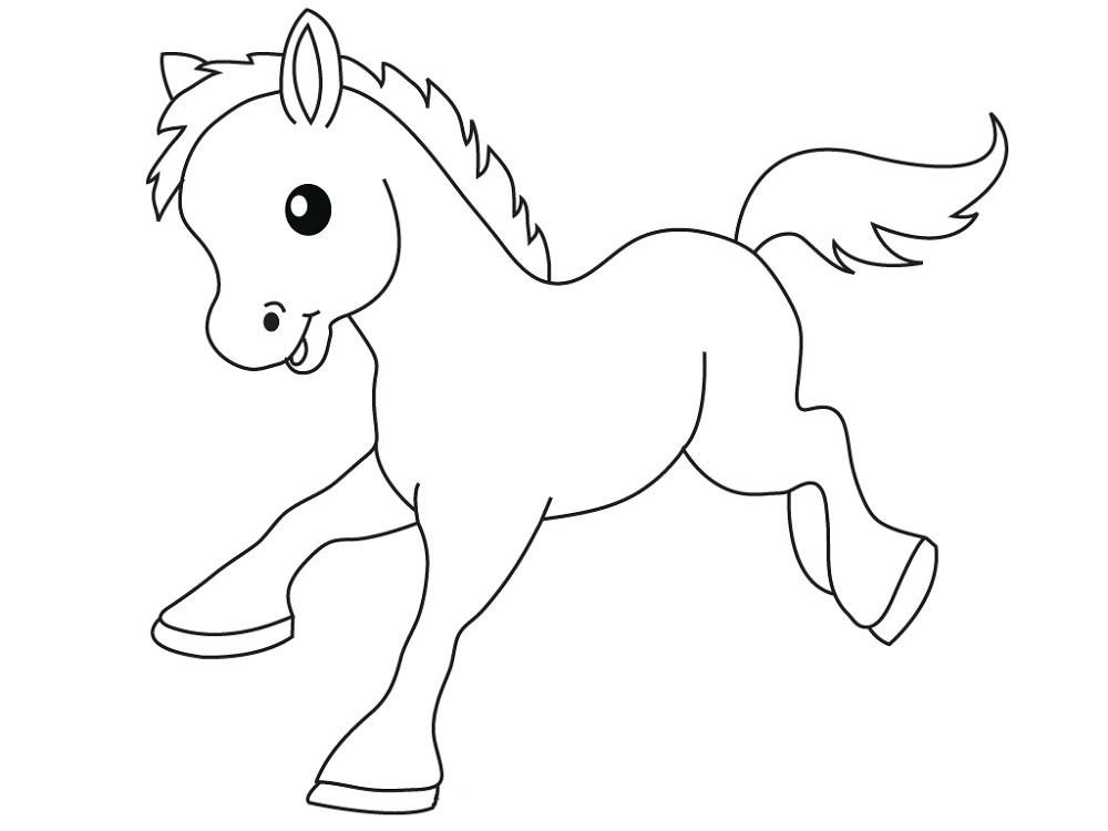 1000x750 Cartoon Horse Coloring Pages Learning Printable