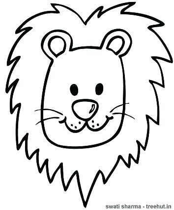 354x425 Coloring Page Lion Lions Face Pages Draw A Cartoon Printable