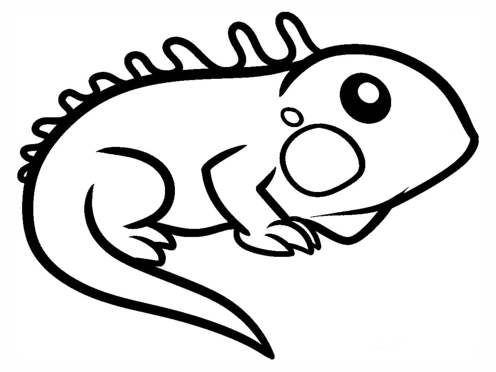 1600x1200 Cartoon Iguana Coloring Page