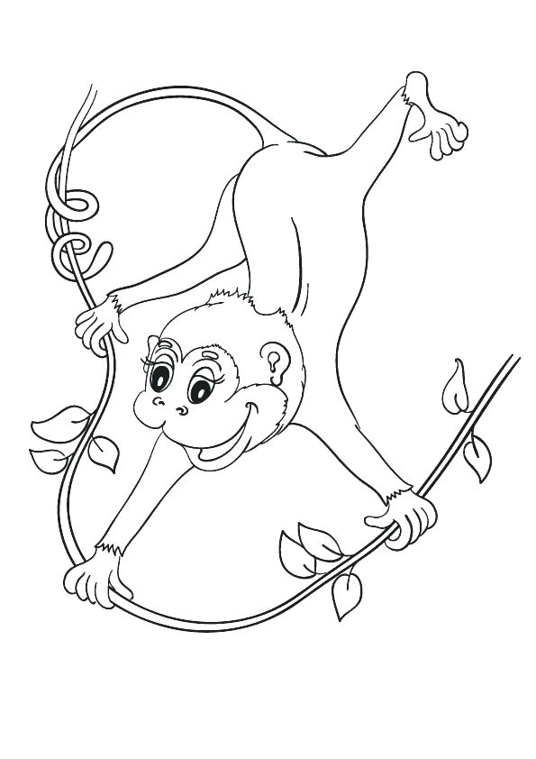 595x842 Cartoon Monkey Coloring Pages Monkey Color Pages Cartoon Monkey