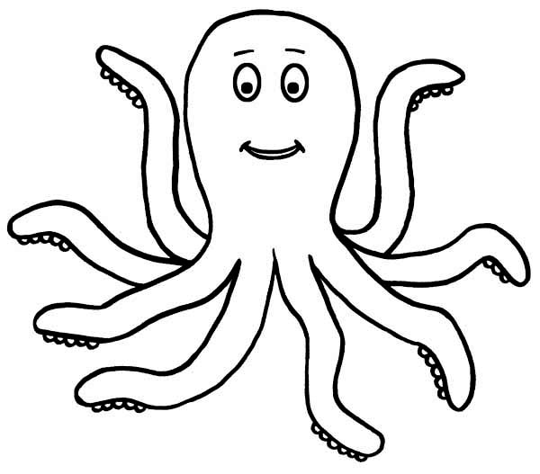 600x527 Cute Octopus Coloring Pages