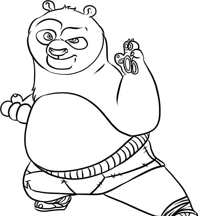 662x715 Crazy Coloring Pages Draw A Cartoon Panda Free Printable Kung Fu