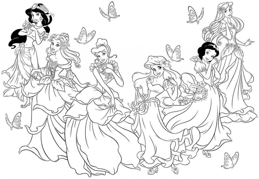 1024x707 All Disney Princess Character Coloring Pages To Print And Sheets