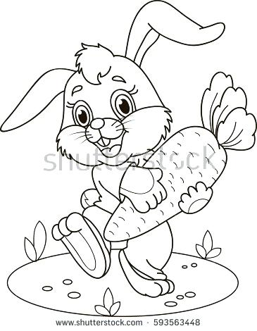 365x470 White Rabbits Color Book Plus Coloring Page Outline Of Cartoon