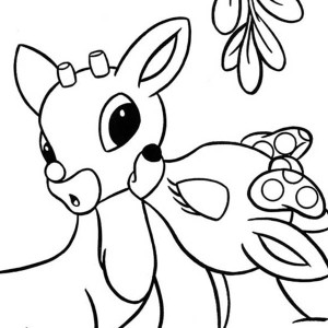 300x300 Cartoon Of Rudolph The Red Nosed Reindeer Coloring Page Cartoon