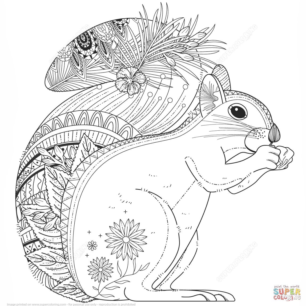 1300x1300 Squirrel Zentangle Coloring Page From Zentangle Category Select