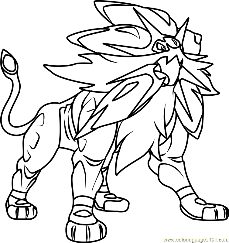 754x800 Solgaleo Pokemon Sun And Moon Coloring Page
