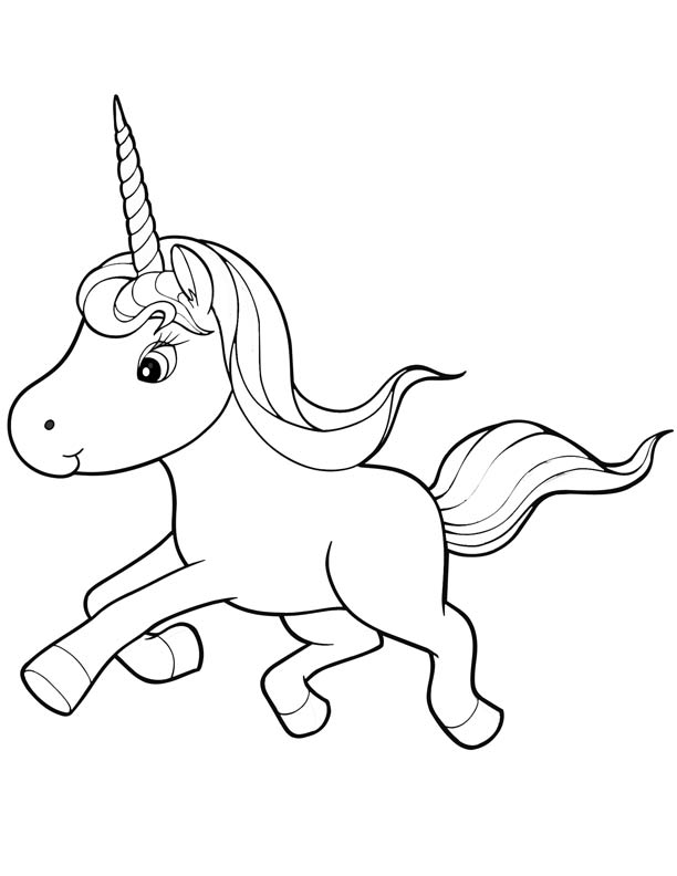 612x792 Cute Unicorn Coloring Pages