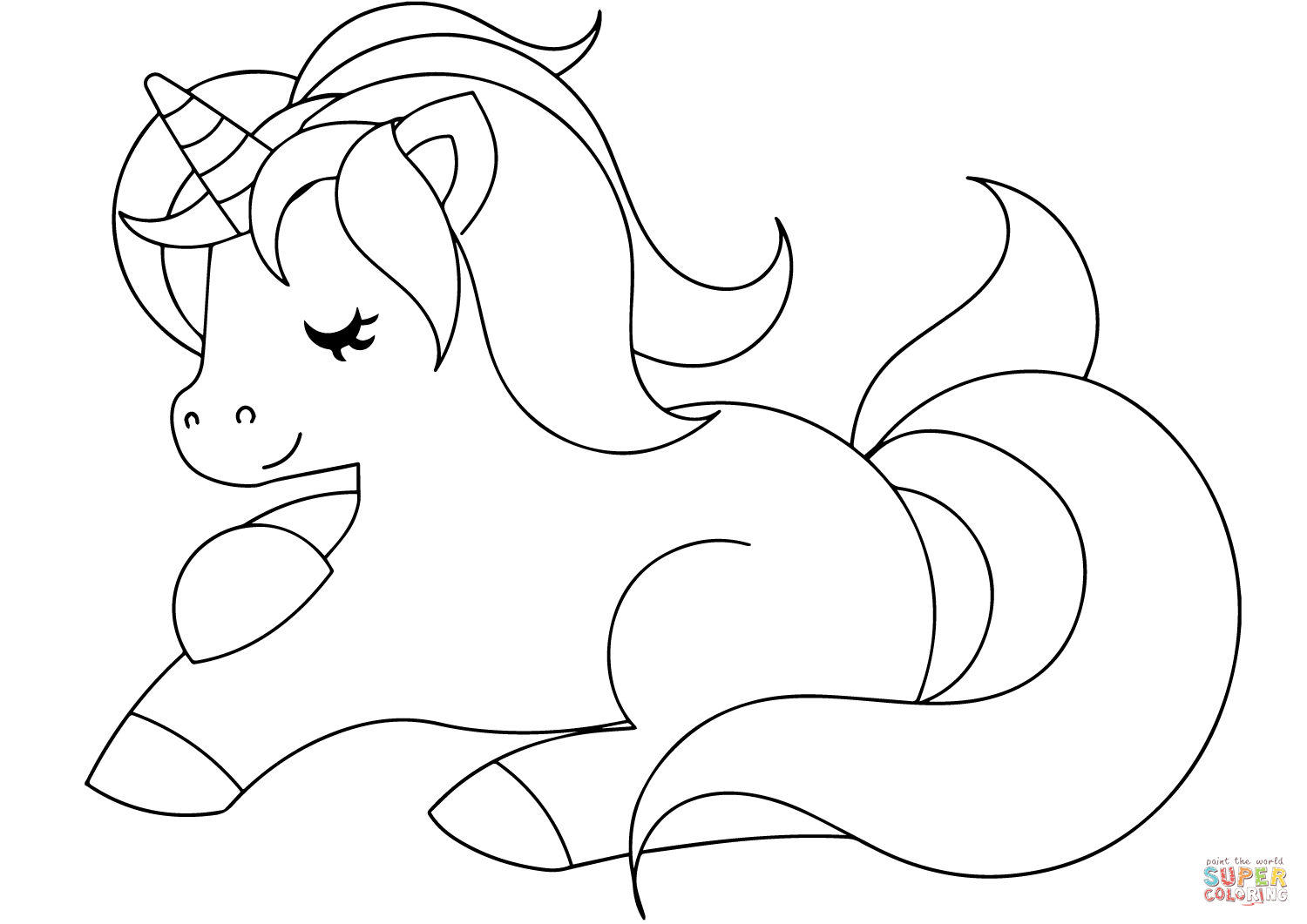 1500x1061 Cartoon Unicorn Coloring Page Pages