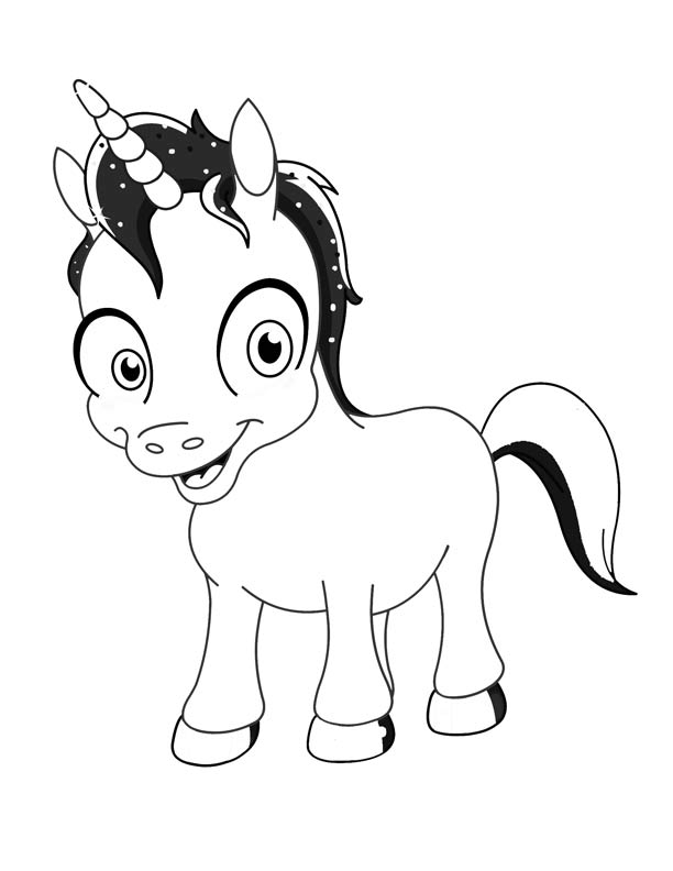 612x792 Cartoon Unicorn Coloring Pages