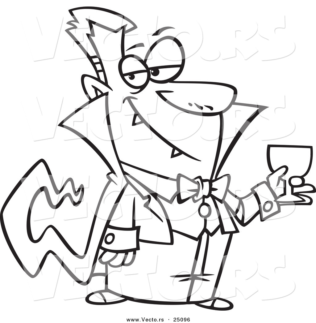 1024x1044 Vector Of A Cartoon Suave Halloween Dracula Vampire Drinking Blood