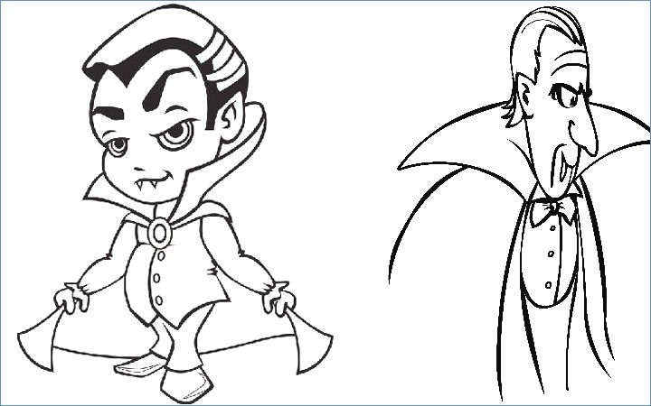 720x450 Cute Vampire Halloween Coloring Pages