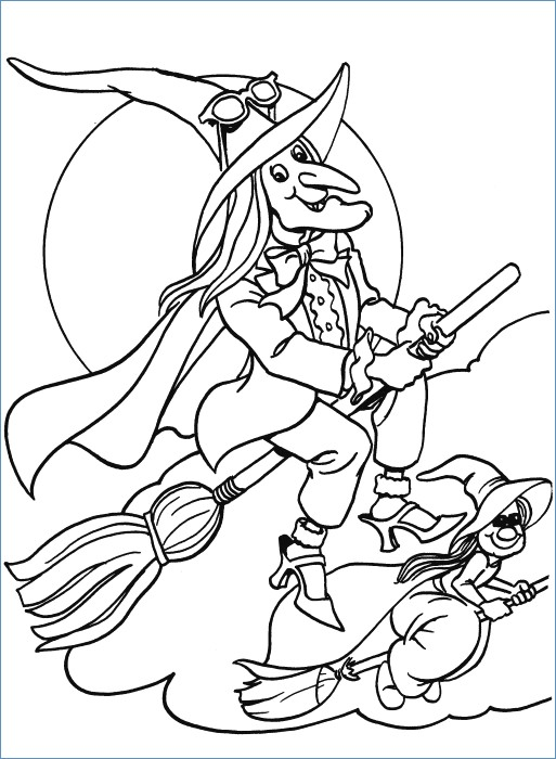 Cartoon Witch Coloring Pages At Getdrawings Free Download