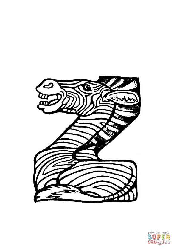 594x840 Z Is For Zebra Coloring Page From Animals Alphabet Category