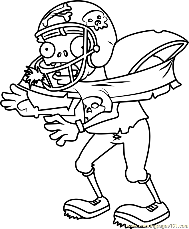 662x800 Zombie Coloring Pages Football Zombie Coloring Page Free Plants Vs