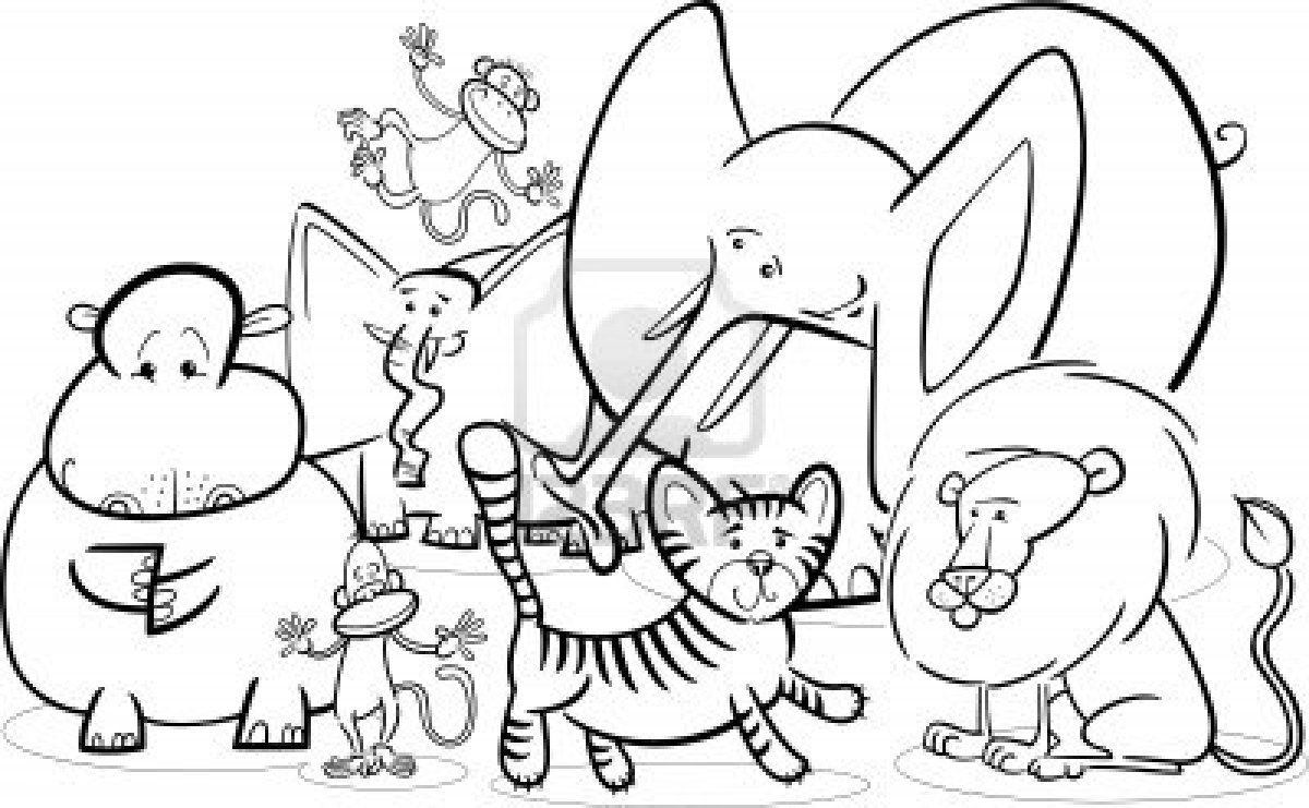 Cartoon Zoo Animals Coloring Pages At Getdrawings Com Free For