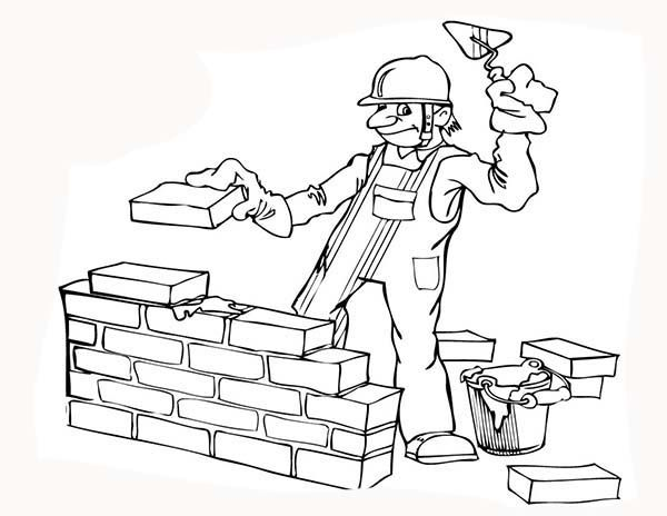 600x464 Construction, Construction Worker Build A Wall Coloring Page