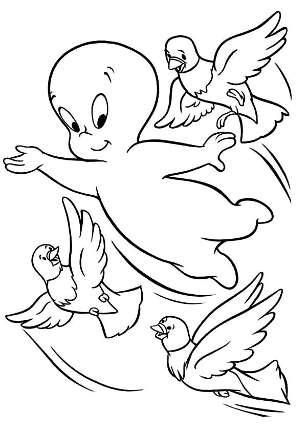 600x841 Casper The Friendly Ghost Flying With Three Little Birds Coloring