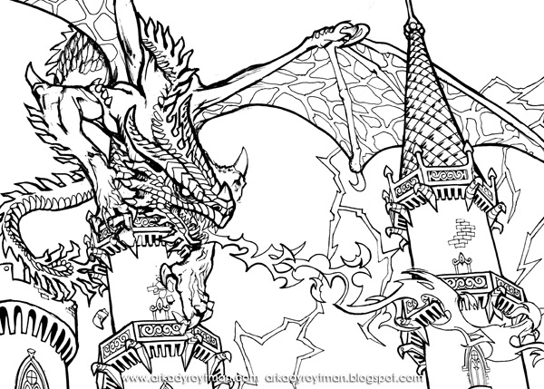 600x429 Dragon Coloring Pages Printable Page Intended For Dragons Prepare