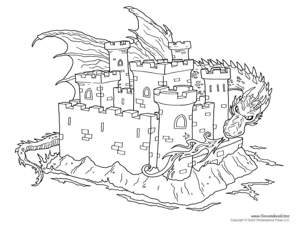 1024x791 Free Coloring Pages Of Dragon And Castle Ez Easy Coloring Pagez