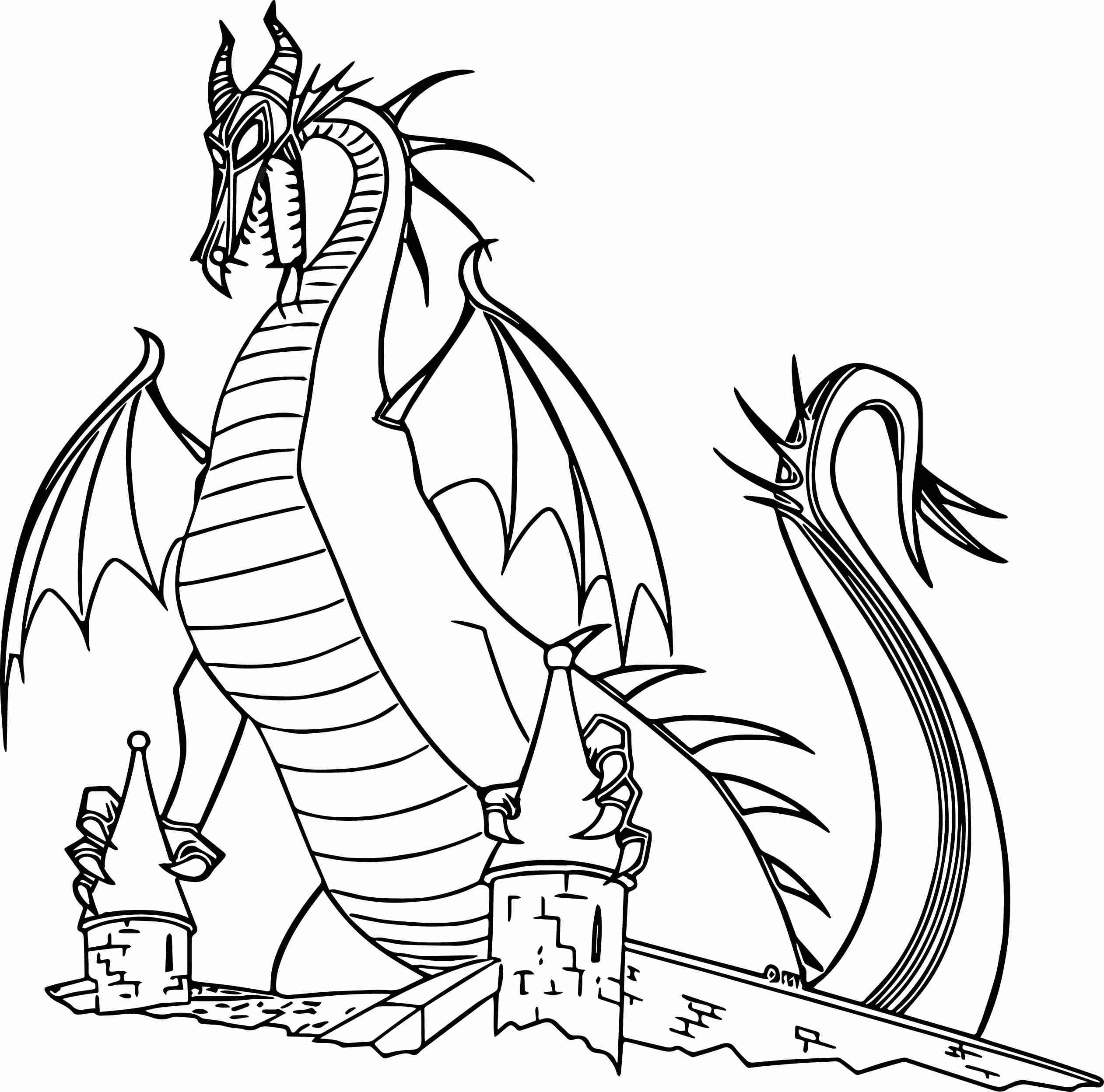 2523x2496 Maleficent Dragon Castle Cartoon Coloring Page Wecoloringpage