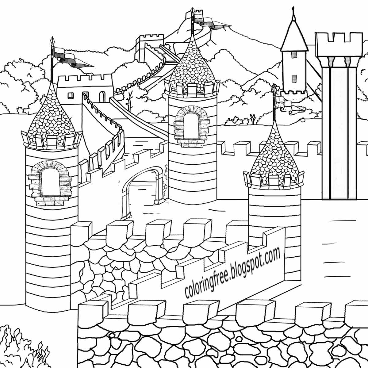 1200x1200 Monumental Castle And Dragon Coloring Pages Me
