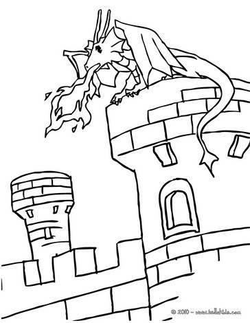 364x470 Castle And Dragon Coloring Pages Dragon On A Castle Tower Coloring