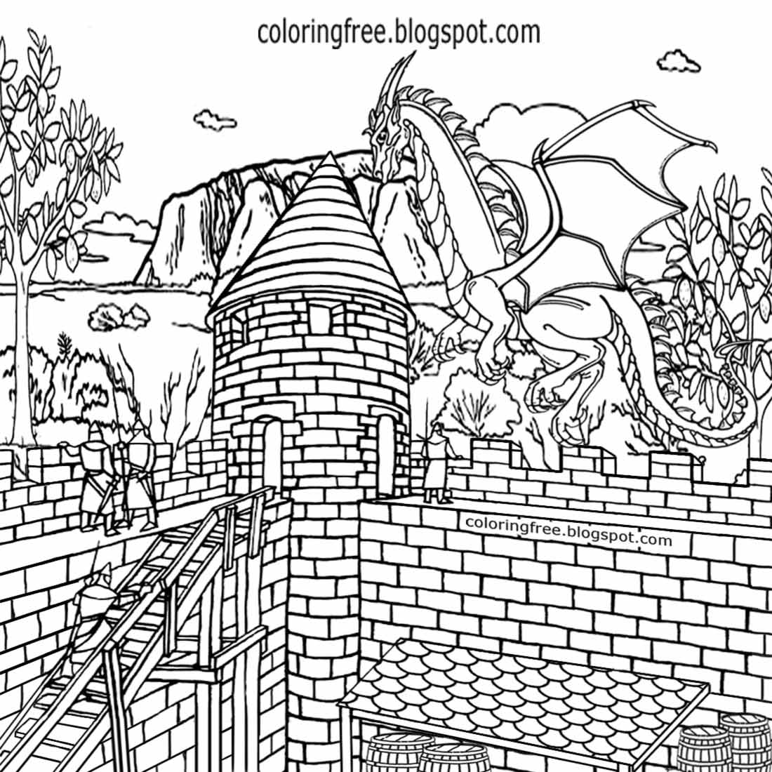 1100x1100 Castle And Dragon Coloring Pages Color Bros