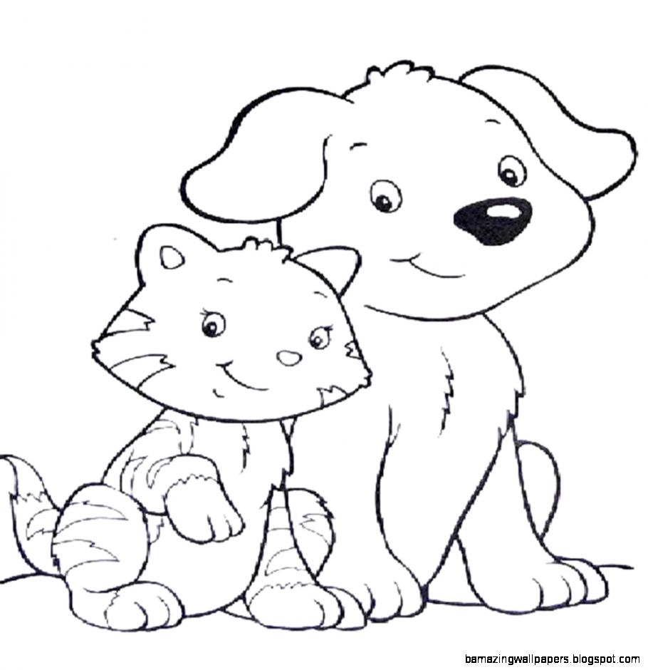 Cat And Dog Coloring Pages To Print At Getdrawings Com Free For