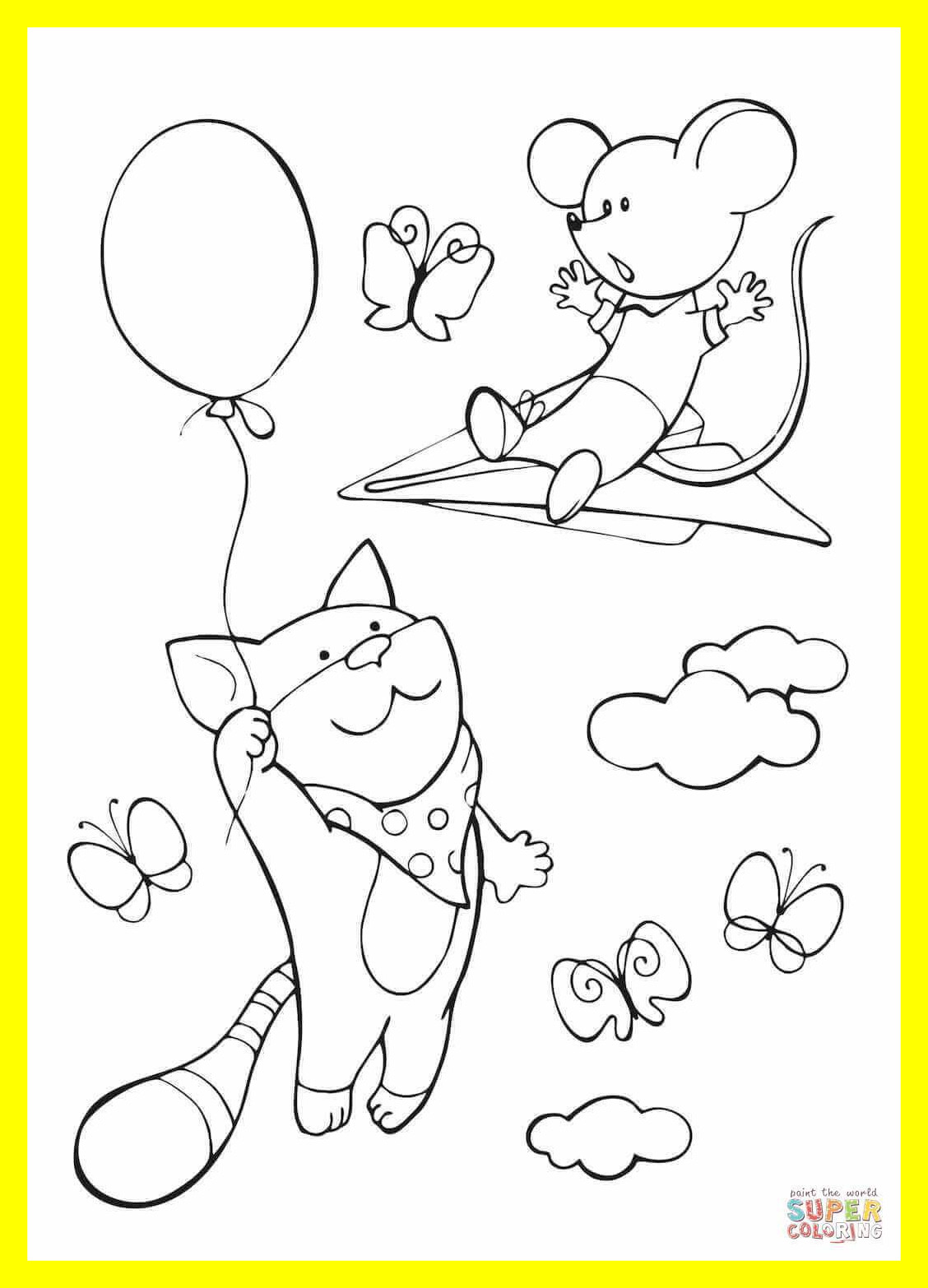 1128x1566 Cat Mouse Coloring Pages