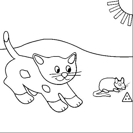 445x445 Free Cat And Mouse Printable Coloring Books Cat And Mouse Coloring