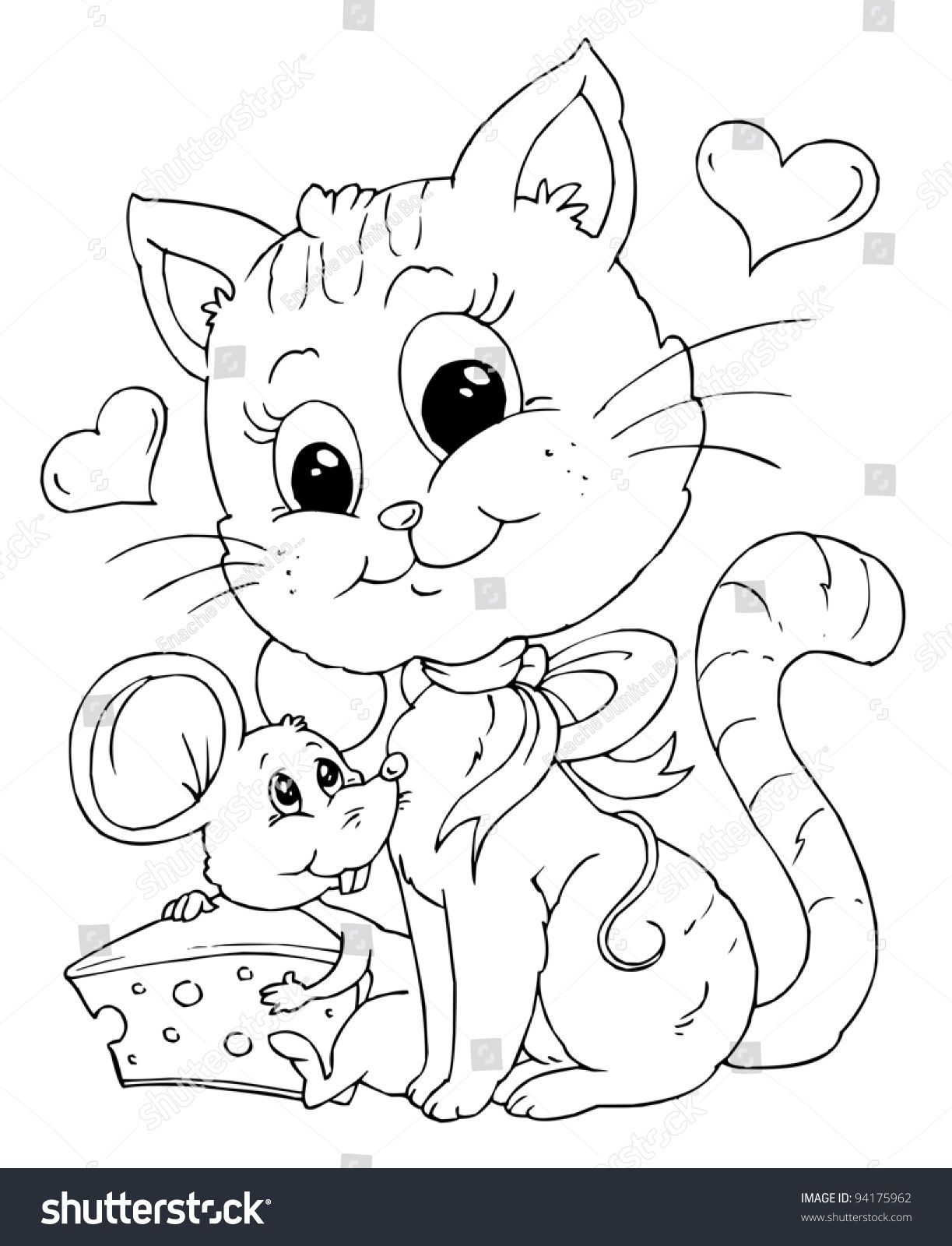 1223x1600 Incredible Friends Mouse Cat Illustration Coloring Page Stock