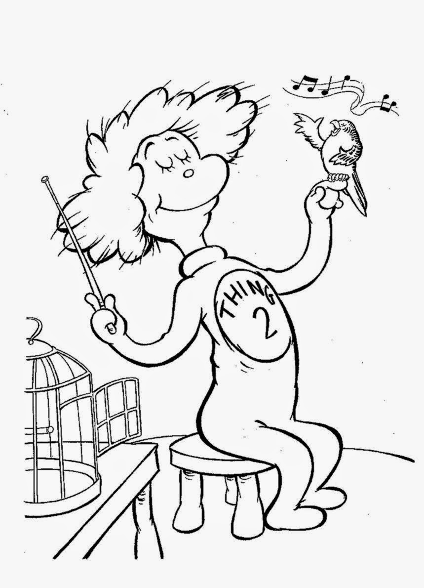 Cat And The Hat Coloring Pages Free